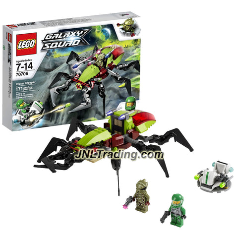 Lego Year 2013 Galaxy Squad Series Set #70706 - CRATER CREEPER with Insect Legs, Chomping Jaws and Flick Missiles Plus Hovercraft, Chuck Stonebreaker and an Alien Buggoid Minifigures (Pieces: 171)