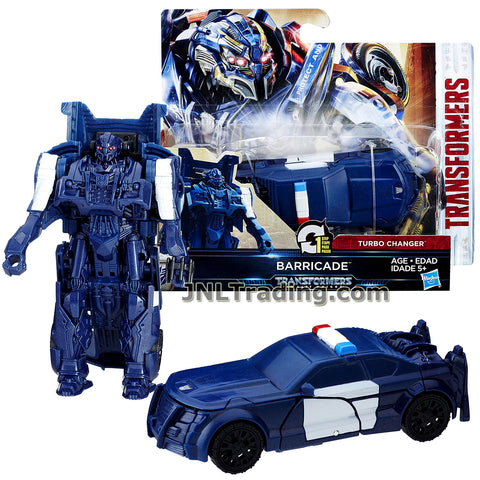 Transformers Year 2016 The Last Knight Movie Series 1 Step Changer 5 Inch Tall Figure -BARRICADE (Vehicle Mode: Police Cruiser)