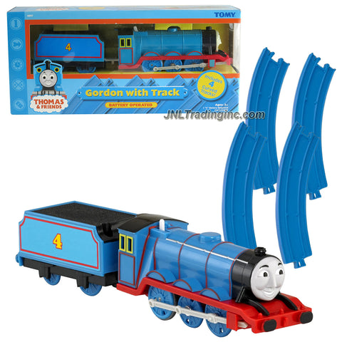 TOMY Year 2005 Thomas and Friends Battery Operated Train Set - GORDON with Coal Loaded Car and 4 Blue Curved Tracks