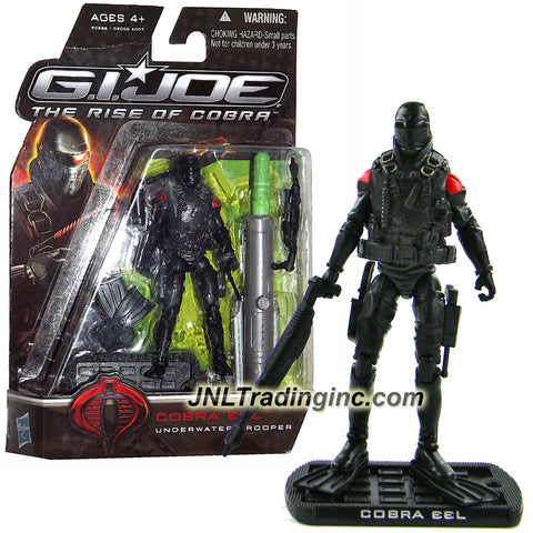 "Hasbro Year 2009 G.I. JOE Movie ""The Rise of Cobra"" Series 4 Inch Tall Action Figure - Underwater Trooper COBRA EEL with Gun, Knife, Harpoon, Flipper, Missile Launcher with 1 Missile and Display Base"