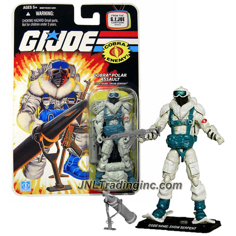 Hasbro Year 2008 G.I. JOE A Real American Hero Cartoon Series 4 Inch Tall Action Figure - Cobra Polar Assault SNOW SERPENT with Snow Shoes, Assault Rifle, Missile Launcher with Stand, Backpack and Display Base