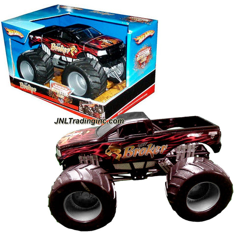 "Hot Wheels Year 2007 Monster Jam 1:24 Scale Die Cast Metal Body Official Monster Truck Series #M4166- THE BROKER with Monster Tires, Working Suspension and 4 Wheel Steering (Dimension : 7"" L x 5-1/2"" W x 4-1/2"" H)"