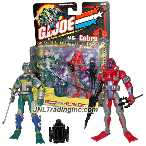 Hasbro Year 2001 GI JOE A Real American Hero vs Cobra Series 2 Pack 4 Inch Tall Action Figure : WET-SUIT vs. COBRA MORAY with Helmet, Oxygen Pack, Harpoon, Flashlight, Flippers, Trident and Double Barrel Rifle