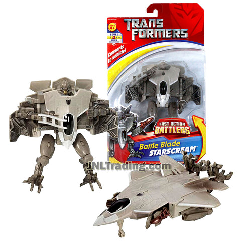 Transformer Year 2006 Fast Action Battlers Series 6 Inch Tall Figure - Battle Blade STARSCREAM with Snap Out Battle Blade (Vehicle Mode: F-22 Raptor Fighter Jet)