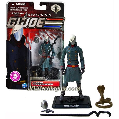 Hasbro Year 2011 G.I. JOE Renegades Series 4 Inch Tall Action Figure - Cobra Leader COBRA COMMANDER with Snake-Shaped Command Stuff, Snake, Helmet, Pistol and Display Stand