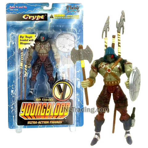 Year 1995 McFarlane Toys Rob Liefeld's Youngblood Ultra Class 6 Inch Tall Action Figures - CRYPT with Halberd, Spear, Shield, Battle-Axe and Club