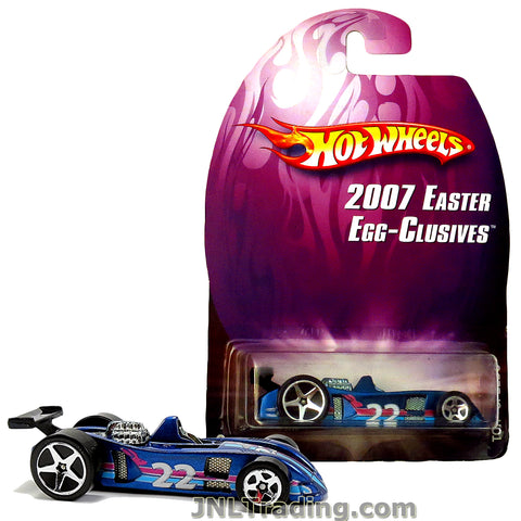 Hot Wheels Year 2007 Easter Egg-Clusives Series 1:64 Scale Die Cast Car Set - Blue Race Car #22 TOR-SPEEDO L4690