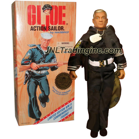 "Hasbro Year 1996 GI JOE World War II Classic Collection Series 12"" Tall Soldier Figure - ACTION SAILOR (White Hair Caucasian) with Sailor Uniform, Belt with Holster and Pistol, Duffel Bag, Sailor Cap, Dog Tag and Rifle"