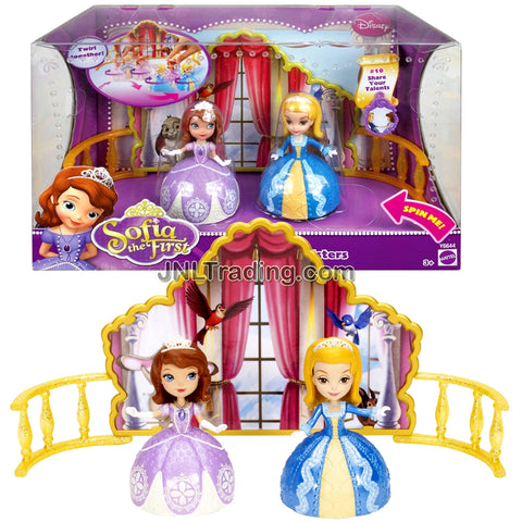 Year 2012 Disney Sofia the First Series 2 Pack 3 Inch Doll Set - DANCING SISTERS with Princess Sofia and Princess Amber Plus Backstage and Charm