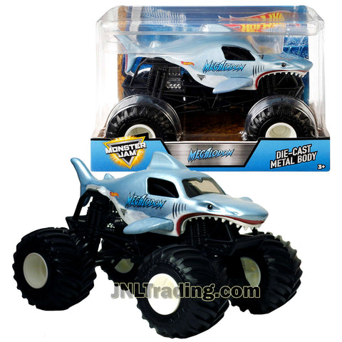 Hot Wheels Year 2017 Monster Jam 1:24 Scale Die Cast Metal Body Official Truck - MEGALODON FMB56 with Monster Tires, Working Suspension and 4 Wheel Steering