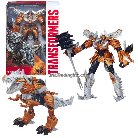 "Hasbro Year 2013 Transformers Movie Series 4 ""Age of Extinction"" Voyager Class 7 Inch Tall Robot Action Figure #002 - Autobot GRIMLOCK with Spike Mace (Dino Mode: T-Rex)"