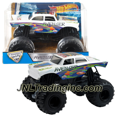 Hot Wheels Year 2016 Monster Jam 1:24 Scale Die Cast Monster Truck - White Color AVENGER with Monster Tires, Working Suspension and 4 Wheel Steering