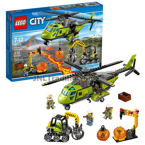 Lego Year 2016 City Series Set 60123 - VOLCANO SUPPLY HELICOPTER with Excavator, Boulder Rack Plus Explorer, Worker and Pilot Minifigures (Total Pieces: 330)