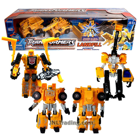Transformer Year 2002 Robots In Disguise Series 4 Pack Robot Action Figure Set - AUTOBOTS LANDFILL with WEDGE, GRIMLOCK, HIGHTOWER and HEAVY LOAD