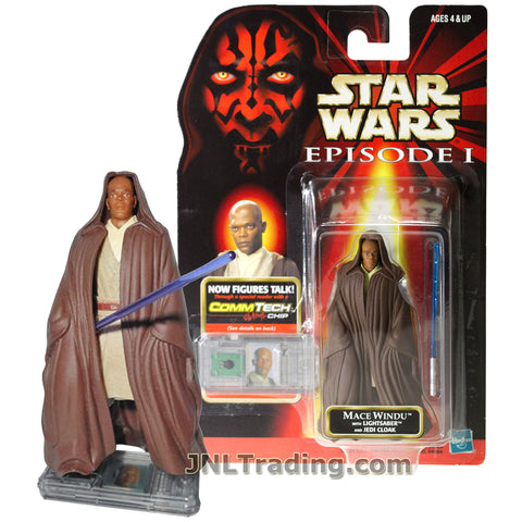 Star Wars Year 1998 The Phantom Menace Series 4 Inch Tall Figure - MACE WINDU with Lightsaber, Jedi Cloak and CommTech Chip