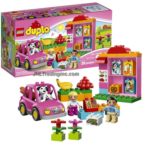 Lego Duplo Year 2014 Preschool Building Toy Set #10546 - MY FIRST SHOP with Checkout Counter, Area for Vegetables and Flowers, Shelf and Buildable Car Plus Shopkeeper, Customer and Dog Figure (Total Pieces: 39)