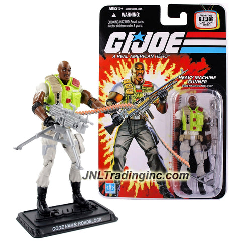 Hasbro Year 2007 G.I. JOE A Real American Hero Cartoon Series 4 Inch Tall Action Figure - Heavy Machine Gunner ROADBLOCK with Squad Automatic Weapon Machine Gun with Tripod, Ammunition Belt and Display Base
