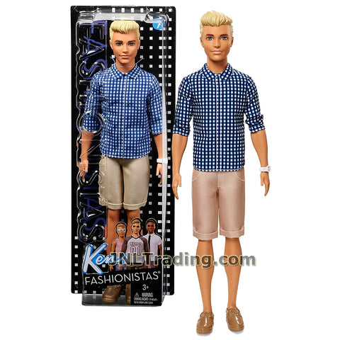 Barbie Year 2016 Ken Fashionistas Series 12 Inch Doll - Caucasian KEN FNH39 in Blue Preppy Check Shirt and Khakis Short with White Watch