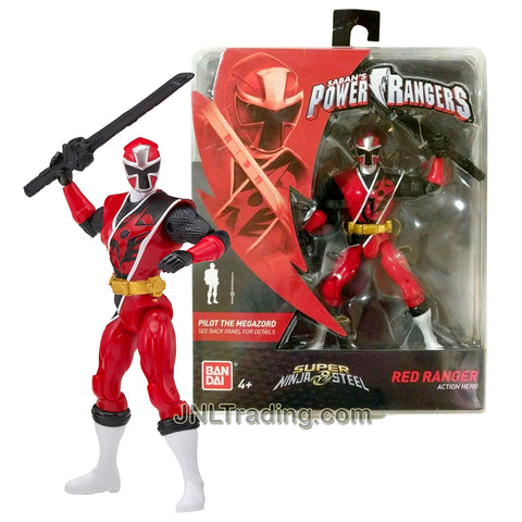 Year 2018 Power Rangers Super Ninja Steel Series 5-1/2 Inch Tall Figure - Action Hero Red Ranger with Sword