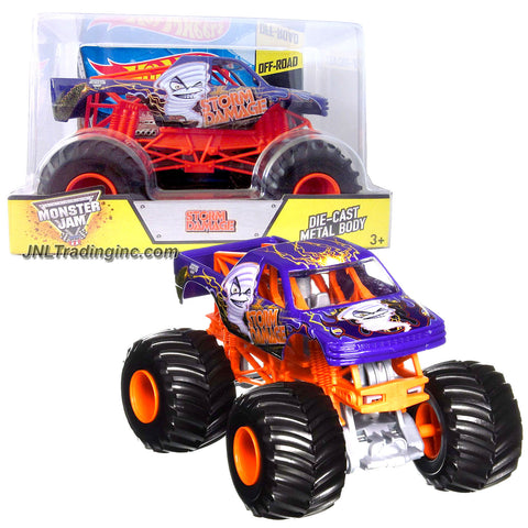 "Hot Wheels Year 2014 Monster Jam 1:24 Scale Die Cast Metal Body Official Monster Truck Series #CCB24-0910 - STORM DAMAGE with Monster Tires, Working Suspension and 4 Wheel Steering (Dimension : 7"" L x 5-1/2"" W x 4-1/2"" H)"