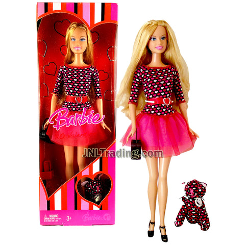 Year 2007 Barbie XO Valentine Series 12 Inch Doll - BARBIE in Pink Heart-Pattern Dress with Purse, Pet Plush and Hairbrush