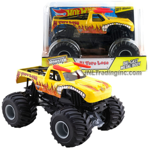 Hot Wheels Year 2015 Monster Jam 1:24 Scale Die Cast Metal Body Official Monster Truck Series #BGH38 - Yellow EL TORO LOCO w/ Monster Tires, Working Suspension & 4 Wheel Steering