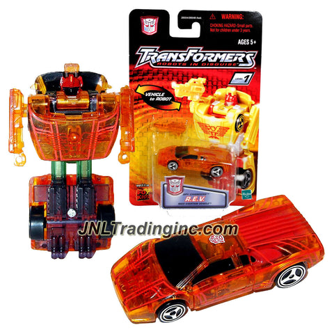 "Hasbro Year 2001 Transformers Robots In Disguise Spy Changers Series 3 Inch Tall Robot Action Figure - Autobot R.E.V. ""Race Exerion Vehicle"" with Shotgun Blaster (Translucent Orange Color)"