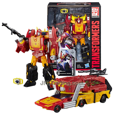 Year 2017 Transformers Generations Power of the Primes Series Leader Class 10 Inch Tall Figure - Evolution RODIMUS PRIME with Blaster, Matrix of Leadership and Collector Card