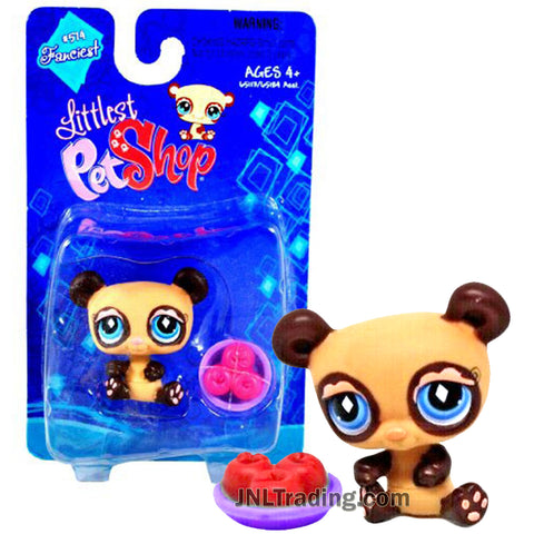Year 2007 Littlest Pet Shop LPS Single Pack Series Bobble Head Figure Set - Brown PANDA with Apple Bowl