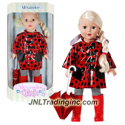 Madame Alexander Girlz Raincoat Series 18 Inch Doll Set - Caucasian Blonde Girl Doll in Red and Black Polka Dots Raincoat with Red Boot and Umbrella