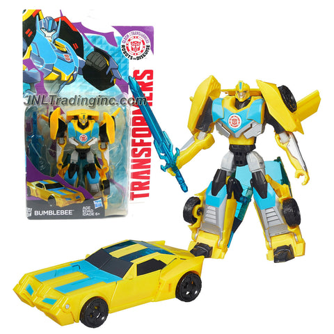 Hasbro Year 2015 Clash of the Transformers Series Exclusive Warriors Class 5 Inch Tall Robot Action Figure - Autobot BUMBLEBEE with Sword (Vehicle Mode: Sports Car)