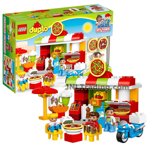 Lego Year 2017 Duplo Series Set #10834 - PIZZERIA with Pizza Oven, Outdoor Seating Area with Umbrella, Ice Cream Stand, Delivery bike Plus Restaurant Owner, Dad and Child Figure (Pieces: 57)