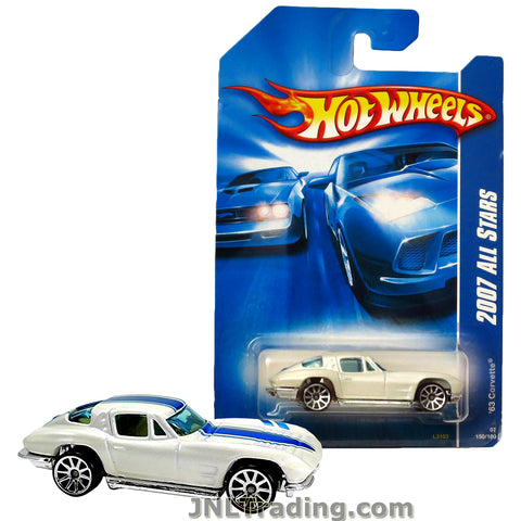 Hot Wheels Year 2007 All Stars Series 1:64 Scale Die Cast Car Set #150 - White Classic Sports Coupe '63 CORVETTE with Blue Stripes L3103
