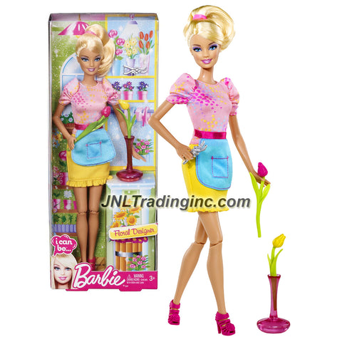 "Mattel Year 2012 Barbie ""I Can Be"" Series 12 Inch Doll Set - Barbie as FLORAL DESIGNER (Y7485) with Tulip Flowers, Vase and Flower Scissors"