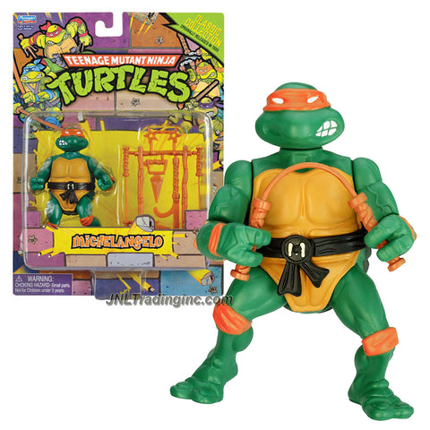 "Playmates Year 2013 Teenage Mutant Ninja Turtles TMNT ""1988 Classic Collection Reproduction"" Series 5 Inch Tall Action Figure - MICHELANGELO with Pair of Nunchakus, Ninja Stars, Hook Sword Plus More Weapon Accessories"