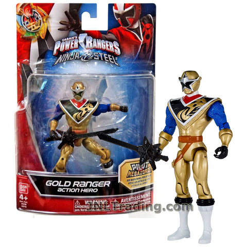 Power Rangers Year 2017 Saban's Ninja Steel Series 5 Inch Tall Figure - Action Hero GOLD RANGER with Sword