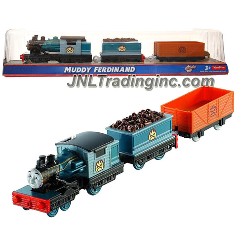 "Fisher Price Year 2013 Thomas and Friends Greatest Moments Series Trackmaster Motorized Railway Battery Powered Tank Engine 3 Pack Train Set - MUDDY FERDINAND (BDP04) with ""Wood"" Loaded Car and Empty Freight Car"