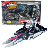 Bandai Year 2006 Power Rangers Operation Overdrive Series 8-1/2 Inch Long Action Figure Vehicle Set - BLACK HOVERTEK CYCLE that Morphs to Chopper with 2 Missiles Plus Black Ranger Figure
