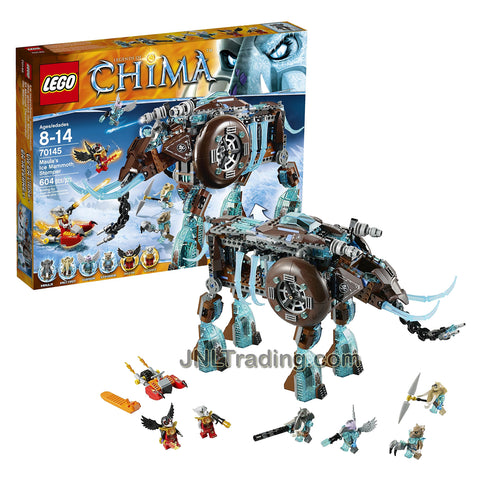 Year 2014 Lego Legends of Chima Series Vehicle Set #70145 - MAULA'S ICE MAMMOTH STOMPER with Maula, Mottrot, Vornon, Strainor, Razar and Worriz Minifigures (Total Pieces: 604)