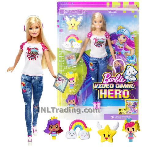 Barbie Year 2016 Video Game Hero Series 12 Inch Doll - BARBIE DTV96 with Headphones, Barbie and Princess Bella Mini Pixel Characters Plus Rainbow and Star Power-Up Characters