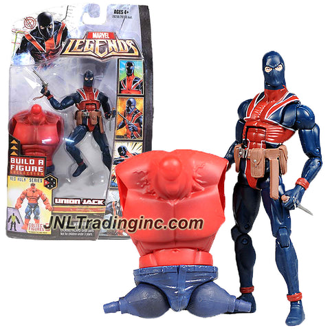 Hasbro Year 2008 Marvel Legends Build A Figure Collection Red Hulk Series 6 Inch Tall Action Figure - UNION JACK with Gun and Dagger Plus Red Hulk's Torso