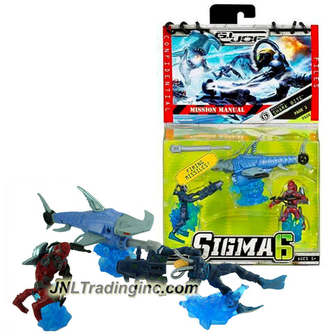 "Hasbro GI JOE Sigma 6 Mission Manual Series 2-1/2"" Tall Figure - SHARK BITE with DUKE, COBRA EEL and SHARK B.A.T. with Missile Launcher and 1 Missile"