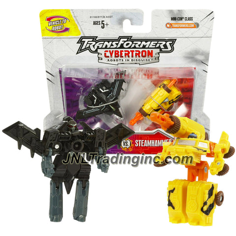 Hasbro Year 2005 Transformers Cybertron Series 2 Pack Mini-Con Class 2-1/2 Inch Tall Robot Action Figure - Decepticon RAZORCLAW (Vehicle Mode: Stealth Fighter Jet) Versus Autobot STEAMHAMMER (Vehicle Mode: Mobile Missile Launcher)