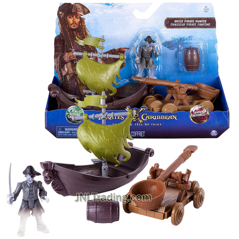 Pirates POTC of the Caribbean Dead Men Tell No Tales Series Playset - Ghost Pirate Hunter with Ghost Ship, Catapult and Barrel