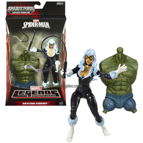 Hasbro Year 2013 Marvel Legends Infinite Series Build a Figure Green Goblin 6 Inch Tall Action Figure - Skyline Sirens BLACK CAT (Felicia Hardy) with Claw Whip & Green Goblin's Torso