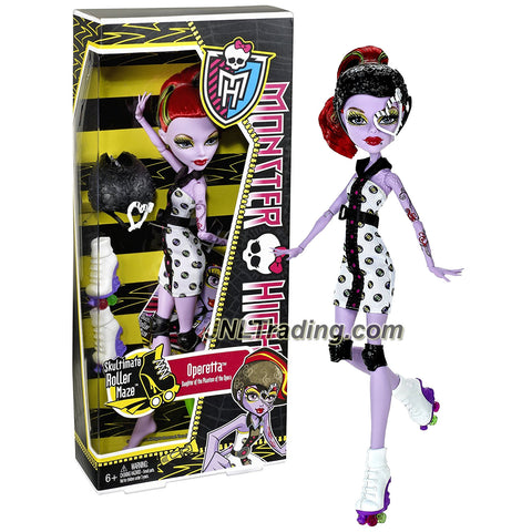 "Mattel Year 2011 Monster High Skultimate Roller Maze Series 10 Inch Doll - Operetta ""Daughter of the Phantom of the Opera"" with Removable Helmet, Roller Blade and Doll Stand (X3674)"