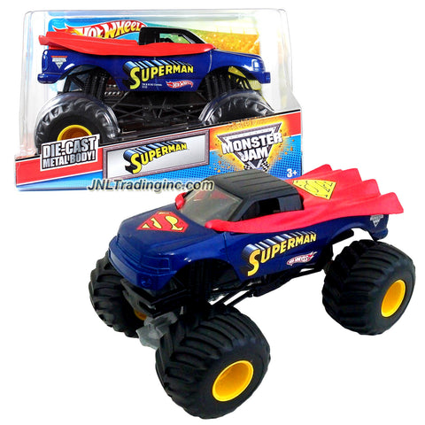 "Hot Wheels Year 2012 Monster Jam 1:24 Scale Die Cast Metal Body Official Monster Truck Series #W2467 - DC Comics SUPERMAN with Monster Tires, Working Suspension and 4 Wheel Steering (Dimension : 7"" L x 5-1/2"" W x 4-1/2"" H)"