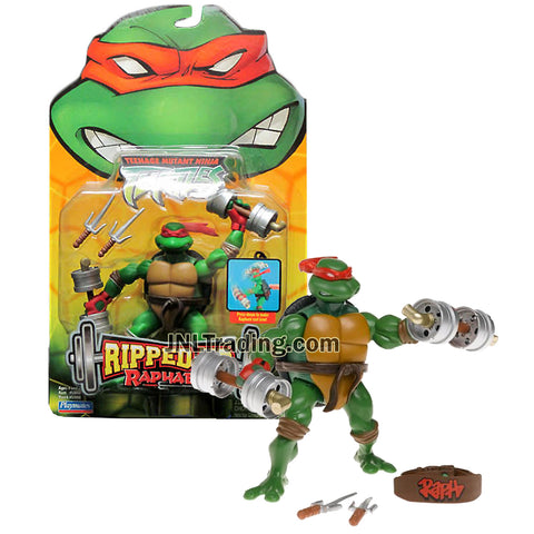 Year 2005 Teenage Mutant Ninja Turtles TMNT Ripped Up Series 5 Inch Tall Action Figure - RAPHAEL with 2 Sais, 2 Dumbbells and Belt