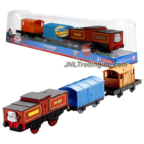 "Fisher Price Year 2012 Thomas and Friends DVD Series ""Go Go Thomas!"" Trackmaster Motorized Railway Battery Powered Tank Engine 3 Pack Train Set : Battery-Electric Shunting Engine STAFFORD (Y2001) with Blue Van and Orange Brake-Van"