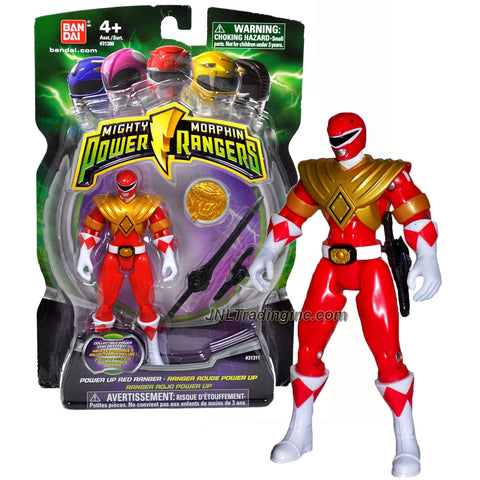 "Bandai Year 2010 Power Rangers Mighty Morphin Series 4"" Tall Action Figure - Power Up RED RANGER with Sword, Blade Blaster and Collectible Tyrannosaurus Power Coin"